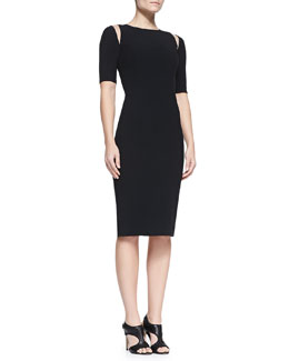 Andrew Gn Tulle-Shoulder Sheath Dress