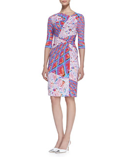 Peter Pilotto Fitted Wrap-Waist Grid Dress