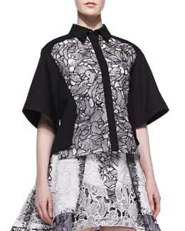 Peter Pilotto Boxy Lace-Front Top