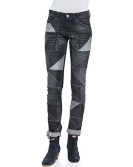 Isabel Marant Etoile Drapey Patchwork Skinny Jeans