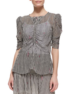 Isabel Marant Etoile Caja Printed Ruched-Sleeve Top