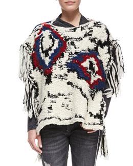 Isabel Marant Etoile Shanon Intarsia Poncho Sweater