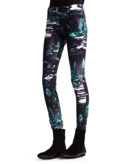 Printed Denim Skinny Jeans