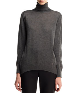 Long-Sleeve Cashmere Turtleneck Tunic