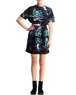 Balenciaga Short-Sleeve Printed Self-Belt Dress
