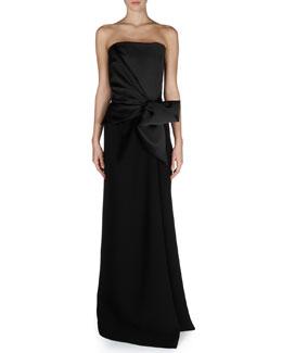 Balenciaga Strapless Bow-Waist Combo Gown
