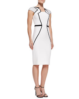 Andrew Gn Dotted-Cap-Sleeve Sheath Dress