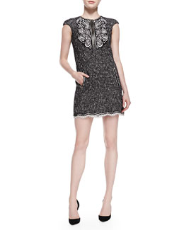 Andrew Gn Cap-Sleeve Tweed Dress with Paisley Detail