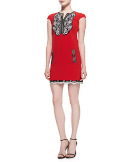 Andrew Gn Cap-Sleeve Crepe Dress with Paisley Detail