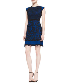 Andrew Gn Paisley and Dotted Cap-Sleeve Dress