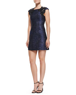 Andrew Gn Embellished Python-Brocade Dress