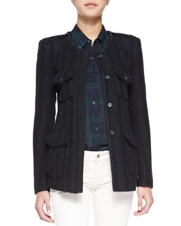 Isabel Marant Etoile Joff Striped Wool Twill Jacket, Dark Green