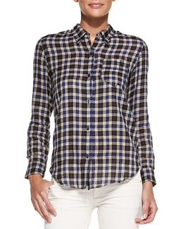 Isabel Marant Etoile Ipa Plaid Buttoned Top