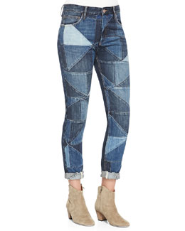 Isabel Marant Etoile Dillon Girlfriend Patchwork Jeans