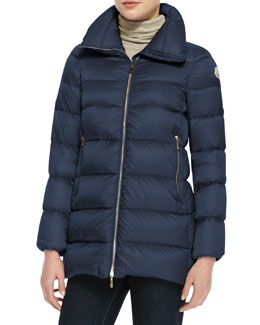 Moncler Long High-Collar Puffer Jacket