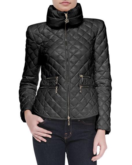 Diamond-Quilted Short Zip Jacket