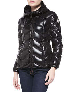 Shiny Chevron-Quilted Short Jacket