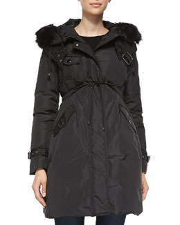 Fur-Trimmed Hooded Mid-Length Jacket, Black