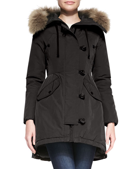 Asymmetric-Button Jacket with Coyote Fur Trim