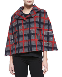 Plaid Crystal-Logo Cape