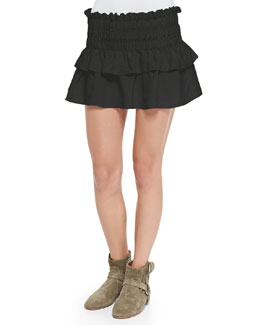 Crista Smocked Ruffle-Tiered Skirt, Black