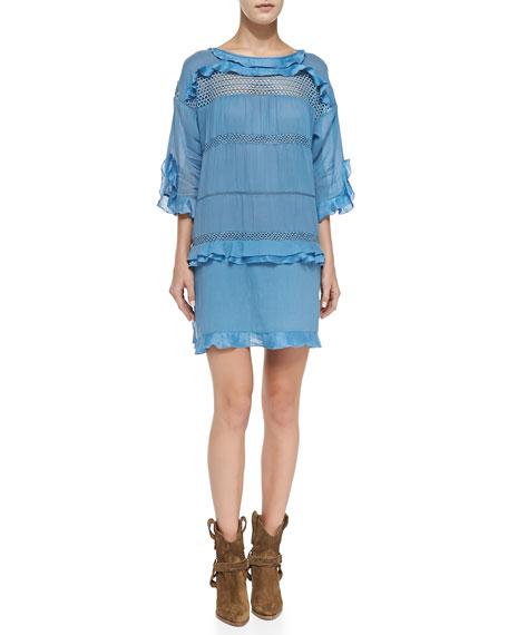95ffdd0602b Isabel Marant Etoile Cassy Mesh-Inset Ruffle Dress