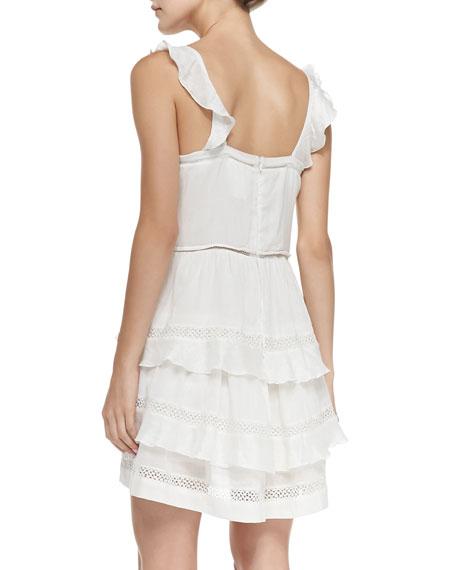 75dfba14b51 Isabel Marant Etoile Casey V-Neck Mesh-Inset Ruffled Dress