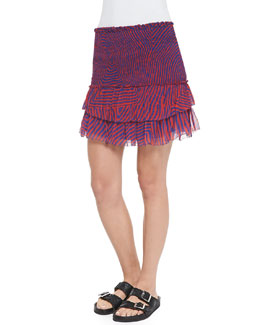 Derek Maze-Print Smocked Ruffle-Tiered Skirt, Red