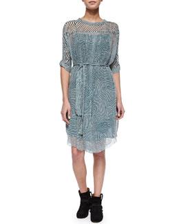 Danbury Ripple-Striped Shirtdress, Green