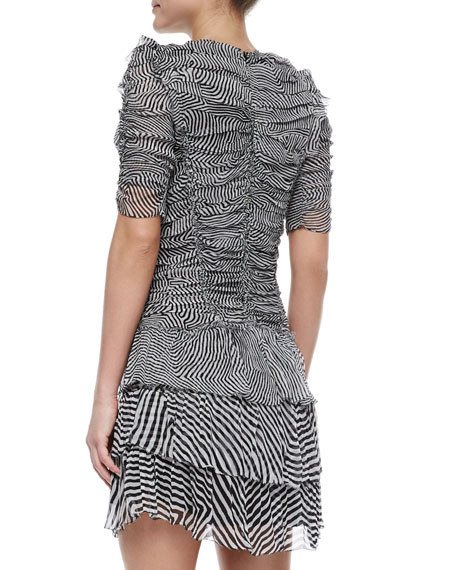 Damia Ripple-Print Ruched Tiered Mini Dress