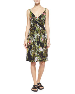 Welby Floral-Print Pleated Dress, Black