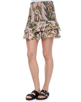 Wilma Floral-Print Tiered Skirt