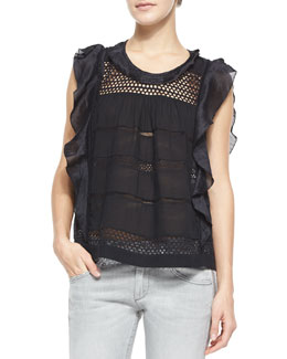 Clara Paneled Flutter Top, Black