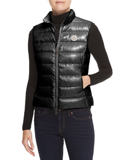 Moncler Fitted Zip Puffer Vest, Black