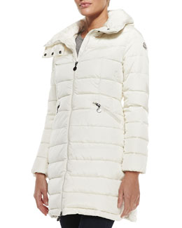 Moncler Quilted Mid-Thigh Puffer Coat, Ivory