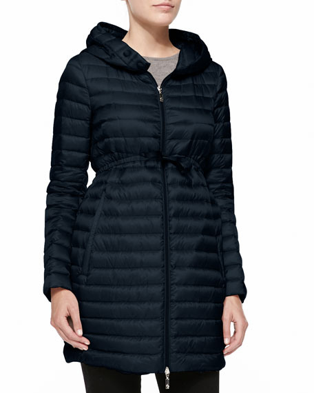 Moncler Long Puffer Drawstring Coat, Navy