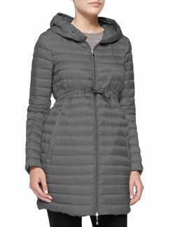 Long Puffer Drawstring Coat, Gray