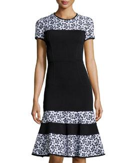 Floral-Panel Knit Short-Sleeve Dress