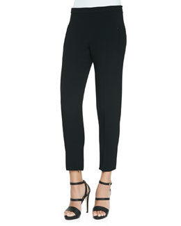 Stretch Crepe Cigarette Pants, Black