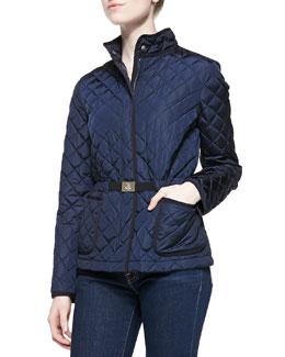 Bonneau Diamond-Quilted Zip Jacket, Navy