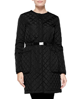 Bonnaire Mid-Length Diamond-Quilted Coat, Black
