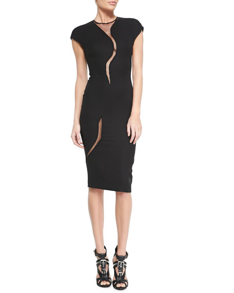Sheer-Insert Cap-Sleeve Sheath Dress