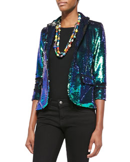 Allover Sequined Open Blazer, Green