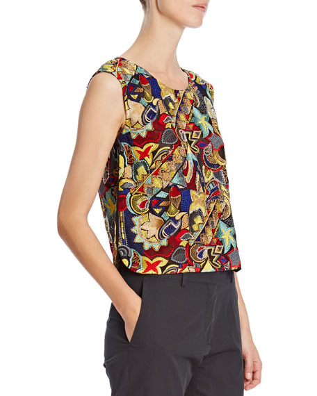 Bead-Embellished Silk Top