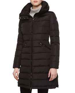 Peplum-Back Puffer Jacket, Black