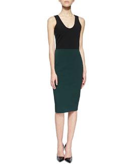 Colorblock Zip-Back Sheath Dress