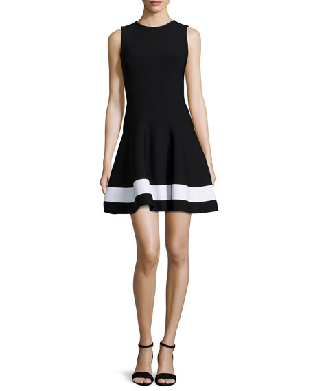 Contrast-Striped Flared Mini Dress, Black