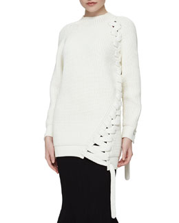 Ribbed Braided-Side Long Sweater, White