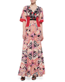 Paisley-Print Silk Gown w/Bead Detail