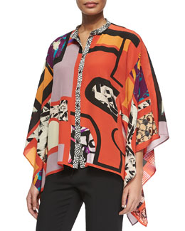 Cube-Print Button-Front Poncho